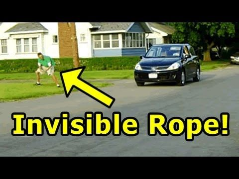 Latest Funny Pranks Invisible Rope Prank - Very Funny! Invisible rope trick!  I love the second car stopping and using his arms to figure out there is no rope!!! 3