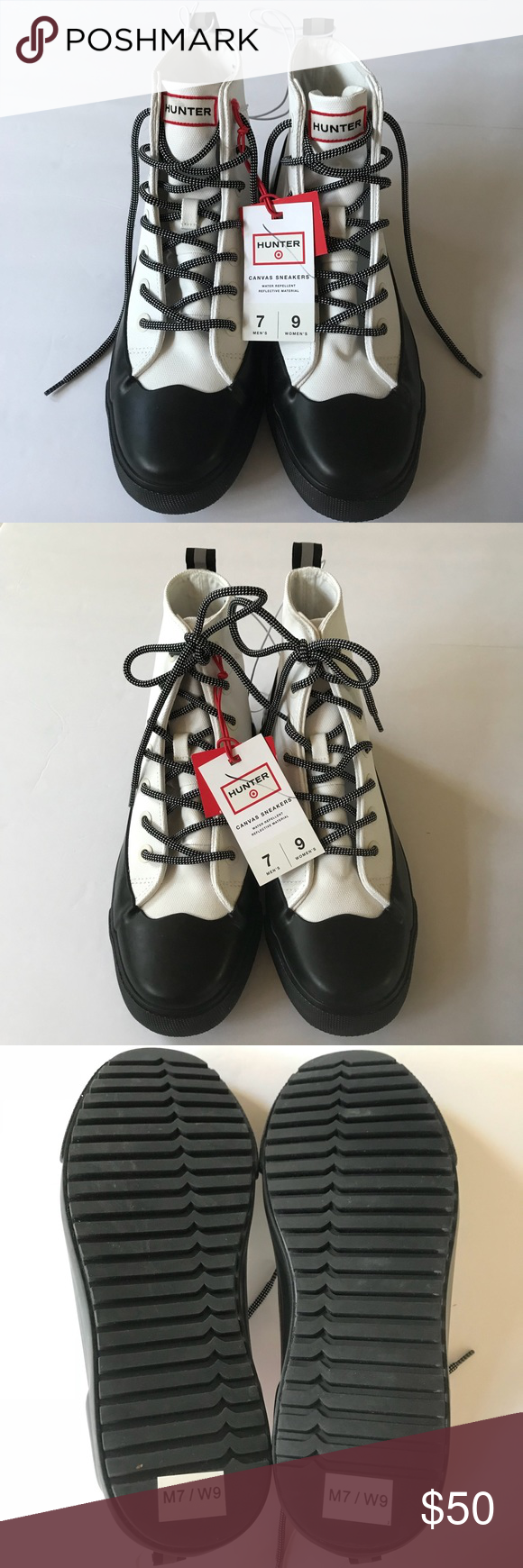1ea1b40cfb9 ... Sneakers 9 Hunter for Target Dipped Canvas High Top Sneakers Lace Up  Water Repellant Flat Rubber Soles Unisex   Women s 9
