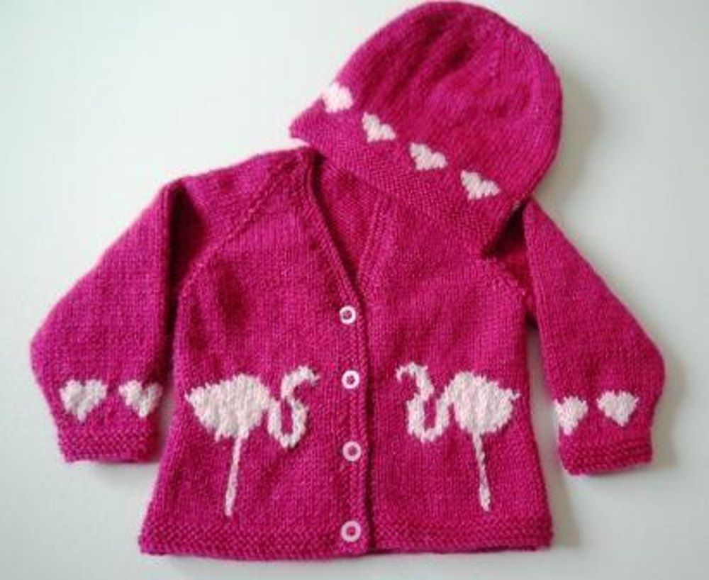 Baby Flamingo and Hearts Outfit | Knitting patterns, Flamingo and ...