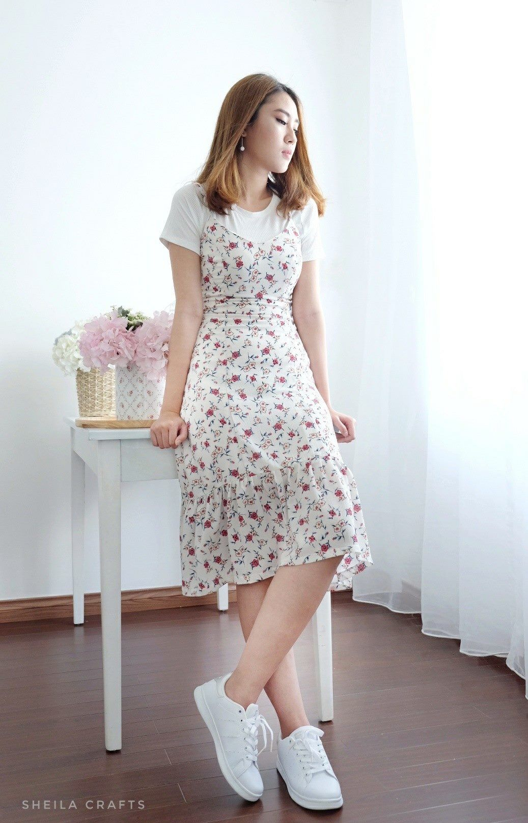 Cute and simple floral print below the knee dress with white shirt