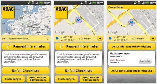 Kostenlose App vom ADAC für Android App, Android und