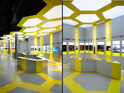 yellow and gray, honeycomb , bee. Vasa Museum, Electric Dreams. Permanent exhibition design.