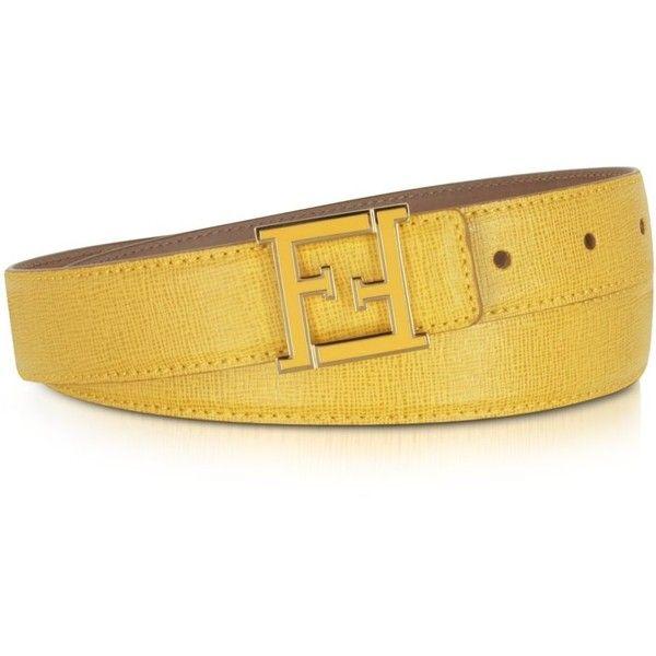 66ee6f0ddb Fendi Crayons Yellow Lizard Embossed Women's Belt ($263) ❤ liked on ...