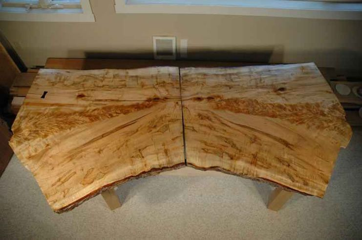 Curly Figured Bookmatched Crotch Maple Slab Table Custom Wood
