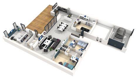 plan maison moderne 3d 4 chambres | Plan maison, Plan de maison moderne plain pied
