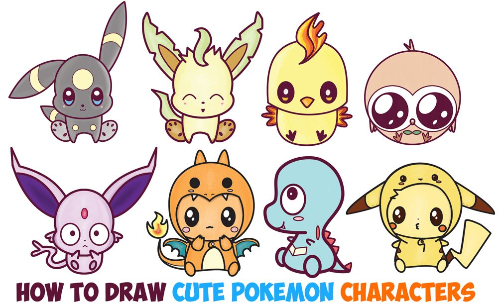 Learn How To Draw Cute Kawaii Chibi Pokemon Characters Easy Step