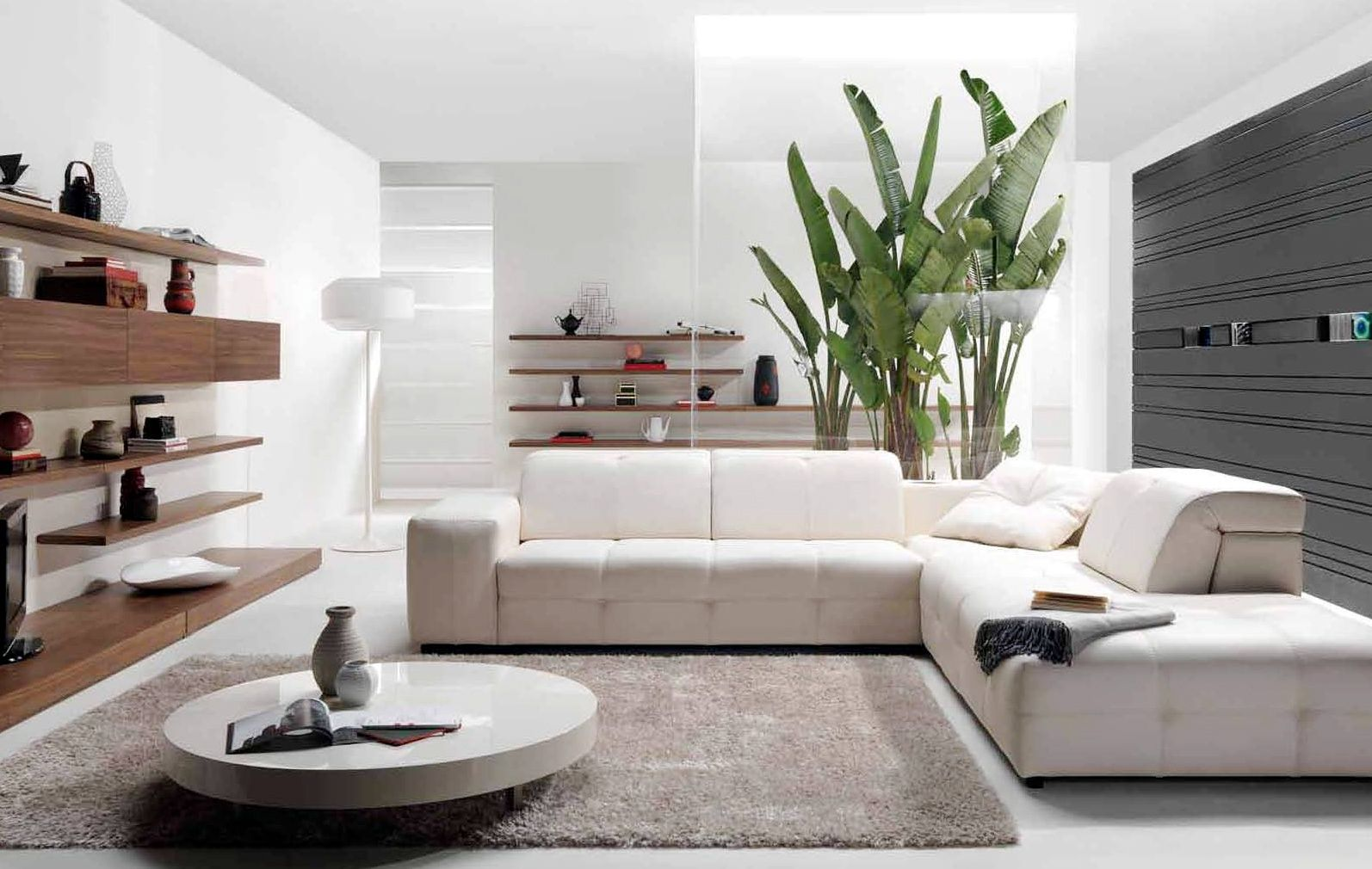 Interior elegant white corner sofa with great grey fur carpet also awesome white marble rounded · living room