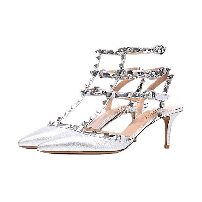 72f623d6475 Chris-T Women s Pointy Toe Buckle Sandals Studded Slingback Kitten Heels  Studs Leather Dress Pumps 5-13 US