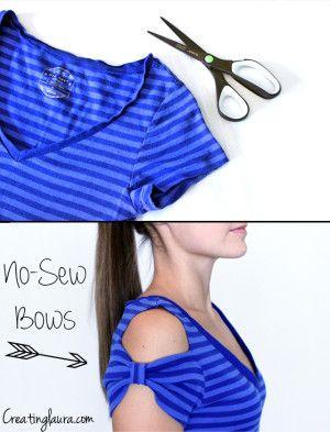 No-Sew T-Shirt Bow Sleeves  #diy #dress #clothing #alternations #fashion #tshirt #reuse