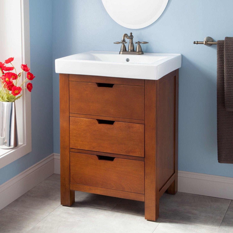 "24"" Morey Vanity Cabinet Oak Powder room Pinterest"