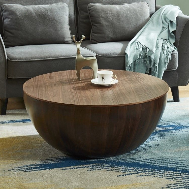 Round Drum Coffee Table With Storage Walnut Bowl Shaped Coffee