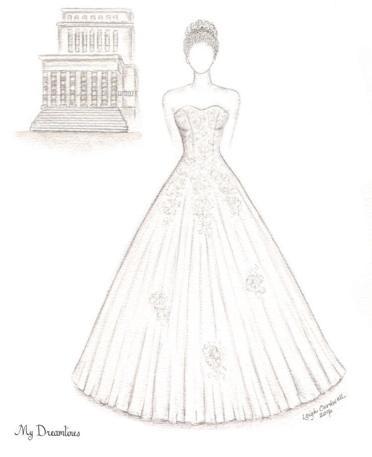 Wedding Dress Sketch And Scenery Framed Given As A Gift From The Groom