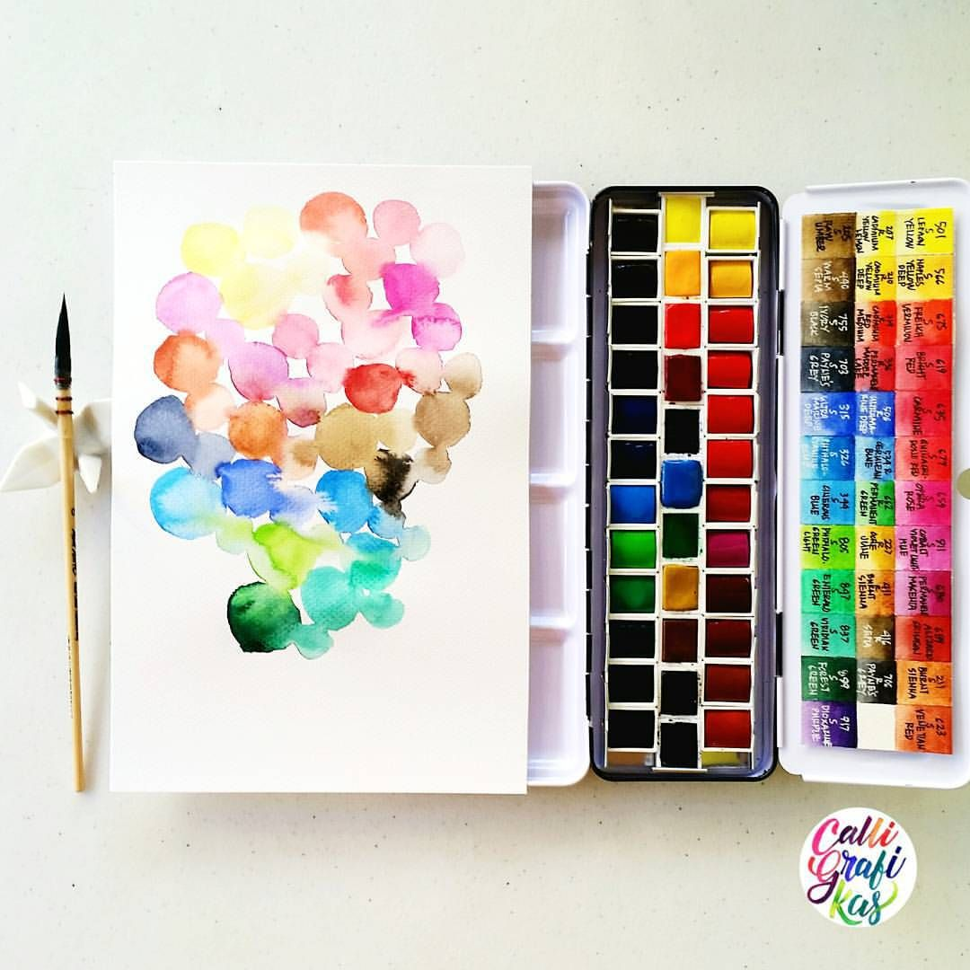 Free illustration watercolor pigment color free image - What A Great Way To Start A Day Than To Play With A New Set Of Watercolors I Got The Free Pan Set Of Sennelier Then Picked The 6 Pans Individually