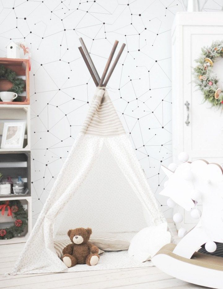 Love This Nursery Interior With Cute Indian Tee And Stylish Constellation Wallpaper Credit To Www Livettes Eu