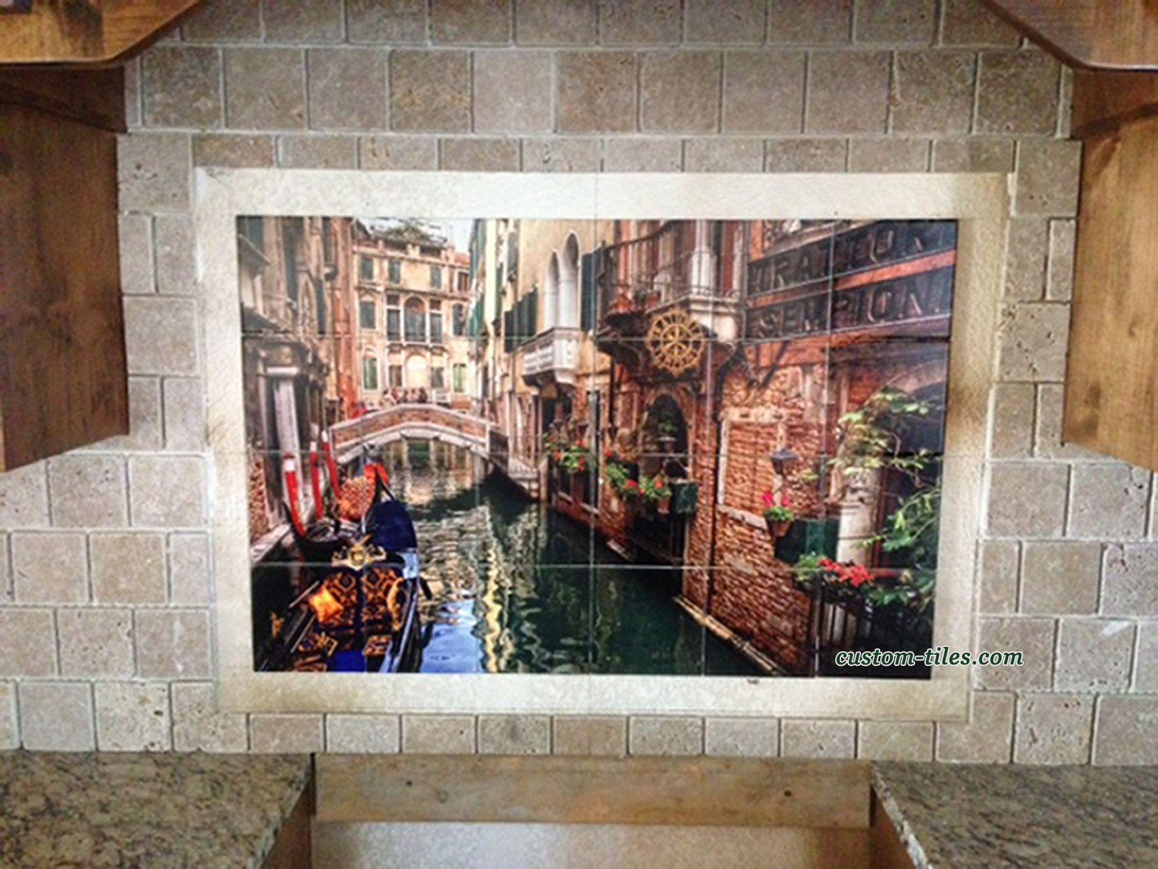 Venice canal with gondolas custom printed kitchen for Custom photo tile mural