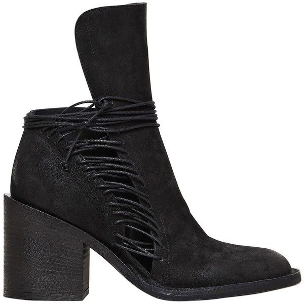 Ann Demeulemeester Women 80mm Lace Up Leather Ankle Boots ($610) ❤ liked on  Polyvore