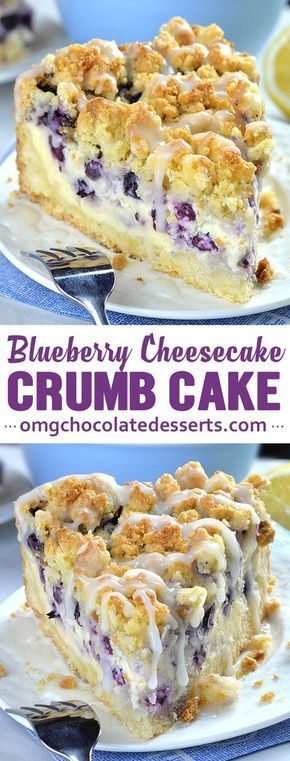 Blueberry Cheesecake Crumb Cake #easydesserts