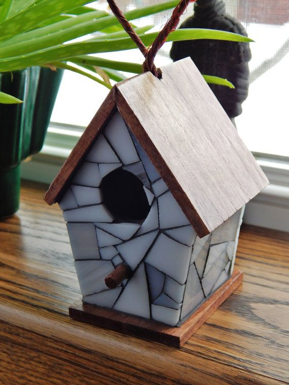 Stained Glass Mosaic Decorative Birdhouse White Stained