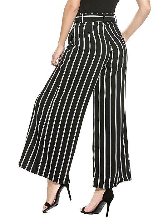 2ba4afa0f6 Zeagoo Women's Super Comfy Stripe Flowy Wide Leg High Waist Belted Palazzo  Pants Capris,Black,Small