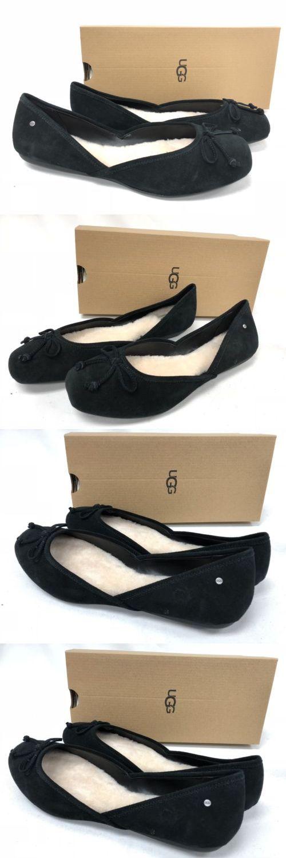 3dc9b999ad8 Flats 45333: Ugg Australia Lena Flat Black Suede 1098289 Women S ...