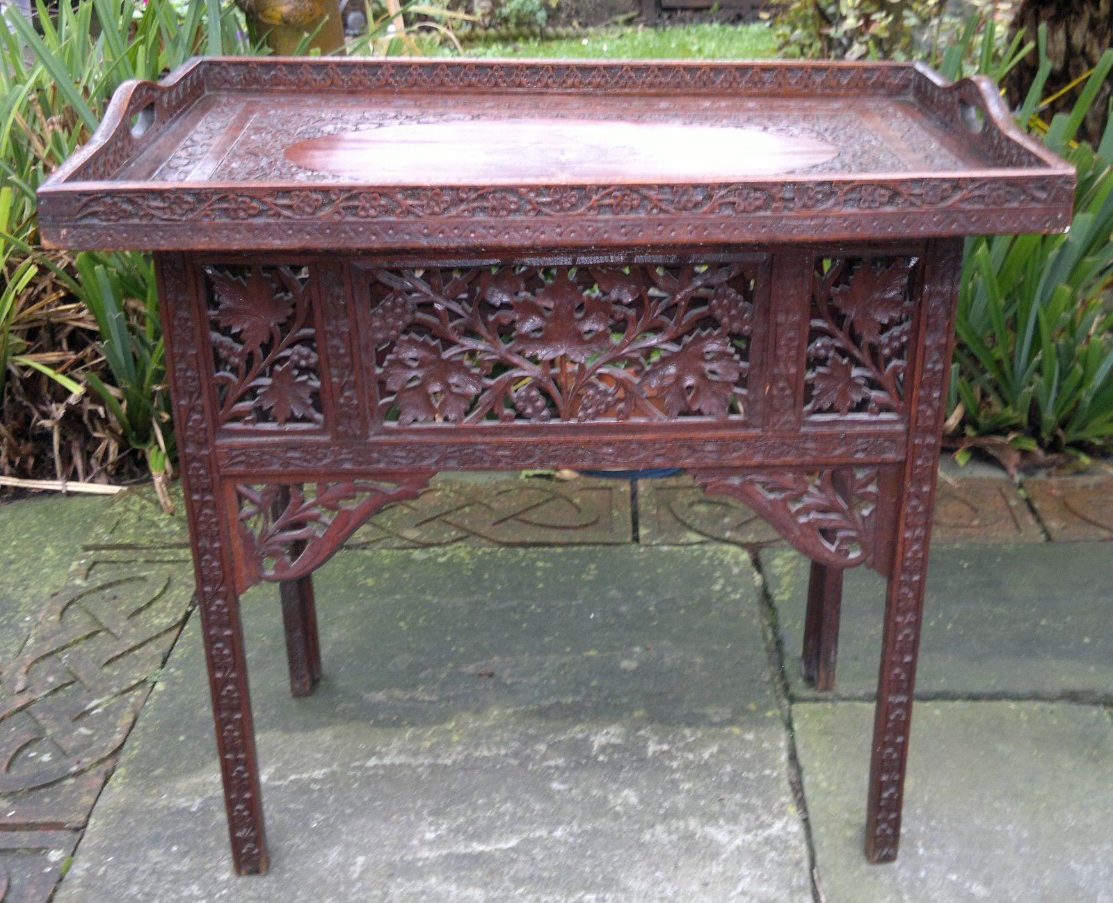 wohnzimmermobel jugendstil : Rare Antique Anglo Indian Carved Teak Butlers Tray Folding Table