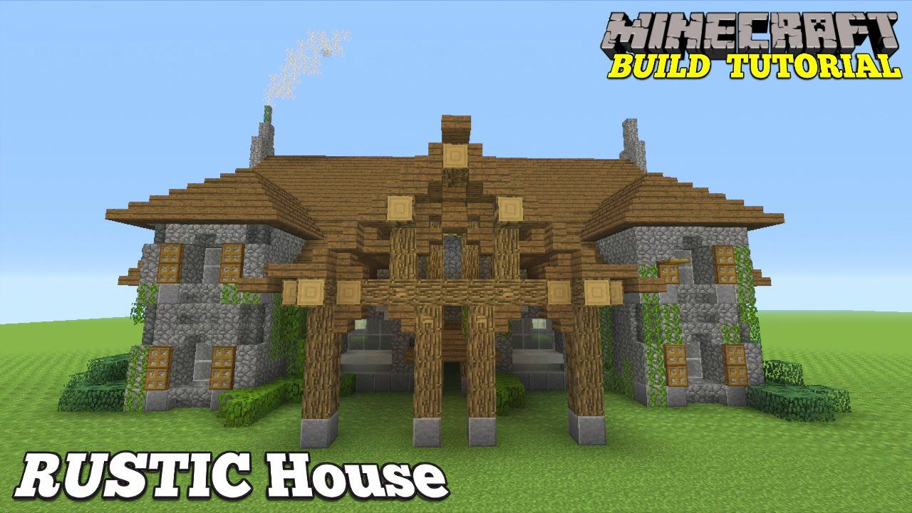 Minecraft Tutorial: RUSTIC Mansion. (How To Build) Easy (11