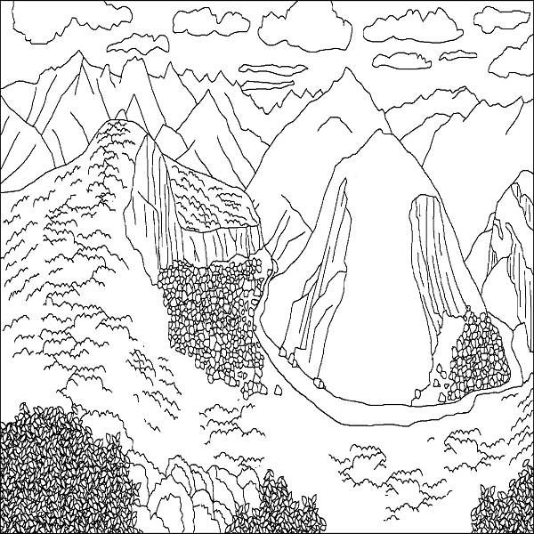mountain scene coloring pages jpg 600 600 drawing ok pinterest