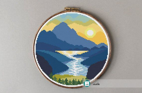 Sunset by the river cross stitch pattern, modern cross stitch pattern, PDF, instant download