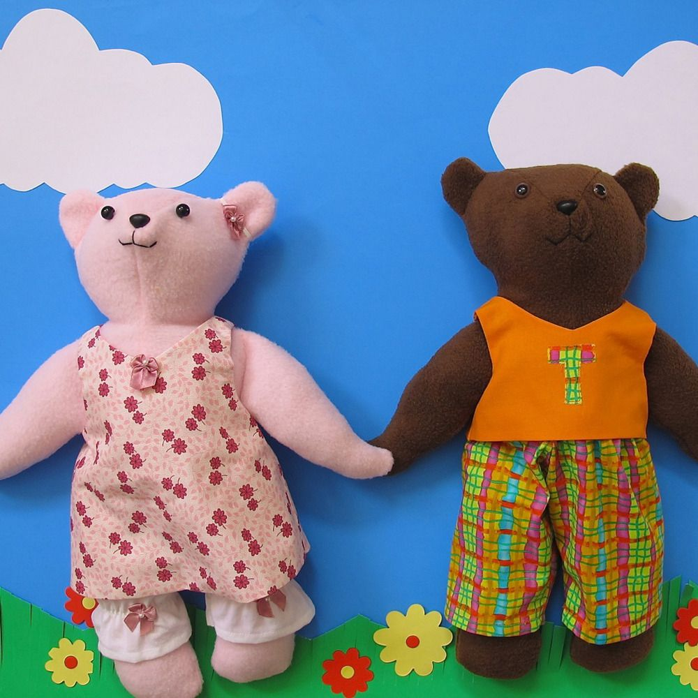 Quick & Easy Dress Up Teddy Bear and Clothing Sewing Pattern PDF. The clothing will fit Build-A-Bears.