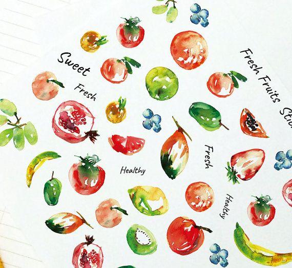 Fruit Stickers Set, Fruit Stickers, Planner Stickers, Weekly Stickers, Sticker Art, Erin Condren, Decor Stickers, Peach, Apple, Grapes