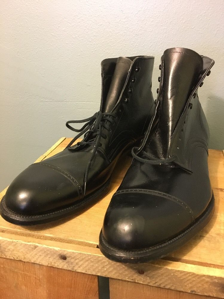 335a8e0692 Vtg Antique men's deadstock black leather hi-top dress work wear shoes.  Early 1900s, 20s-30s. NOS cap toe lace up Edwardian steampunk style boots  with ...