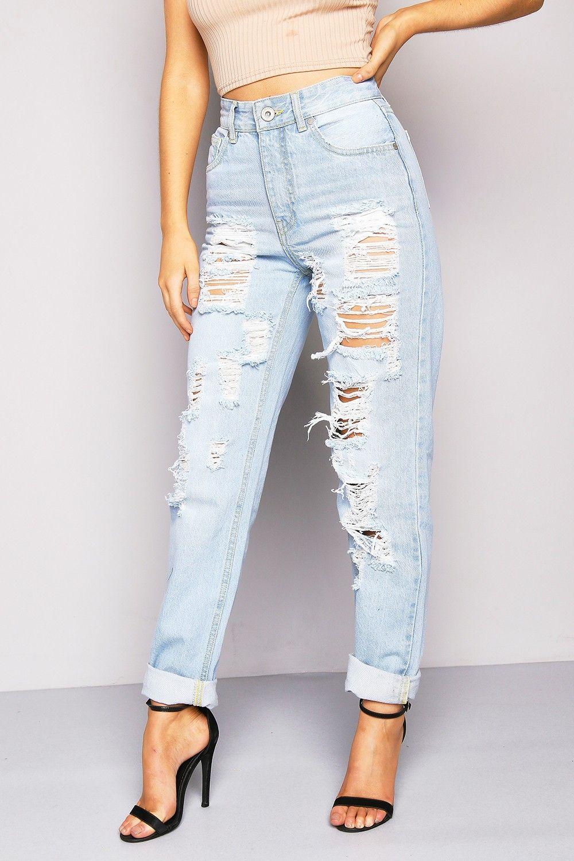 Blue Ripped Boyfriend Jeans Lasula Boyfriend Jeans Ripped Mom Jeans High Waisted Mom Jeans