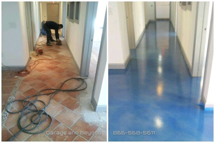 Self Level Concrete Over Tile Stained Wave Affects Then Sealed