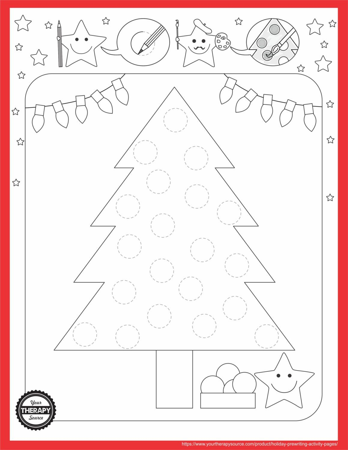 Holiday Tree Prewriting Activity Page