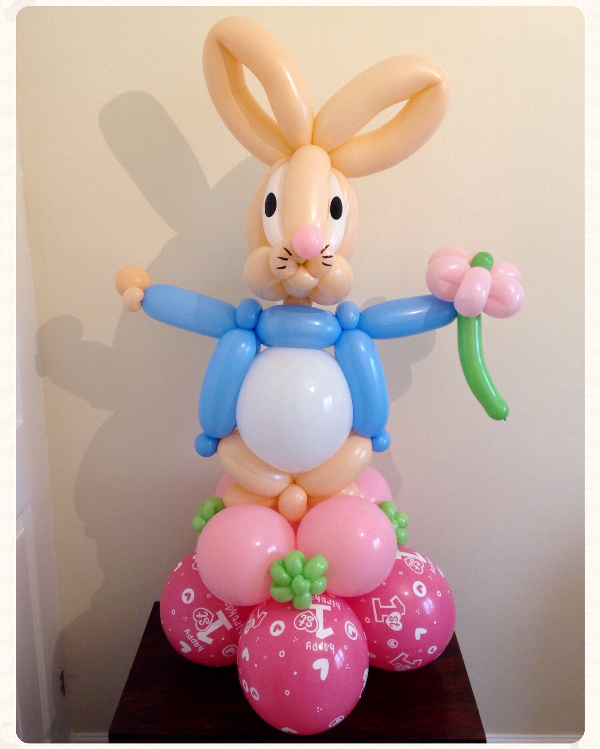 Bunny and Flowers latex balloons Peter Rabbit parties 5ct