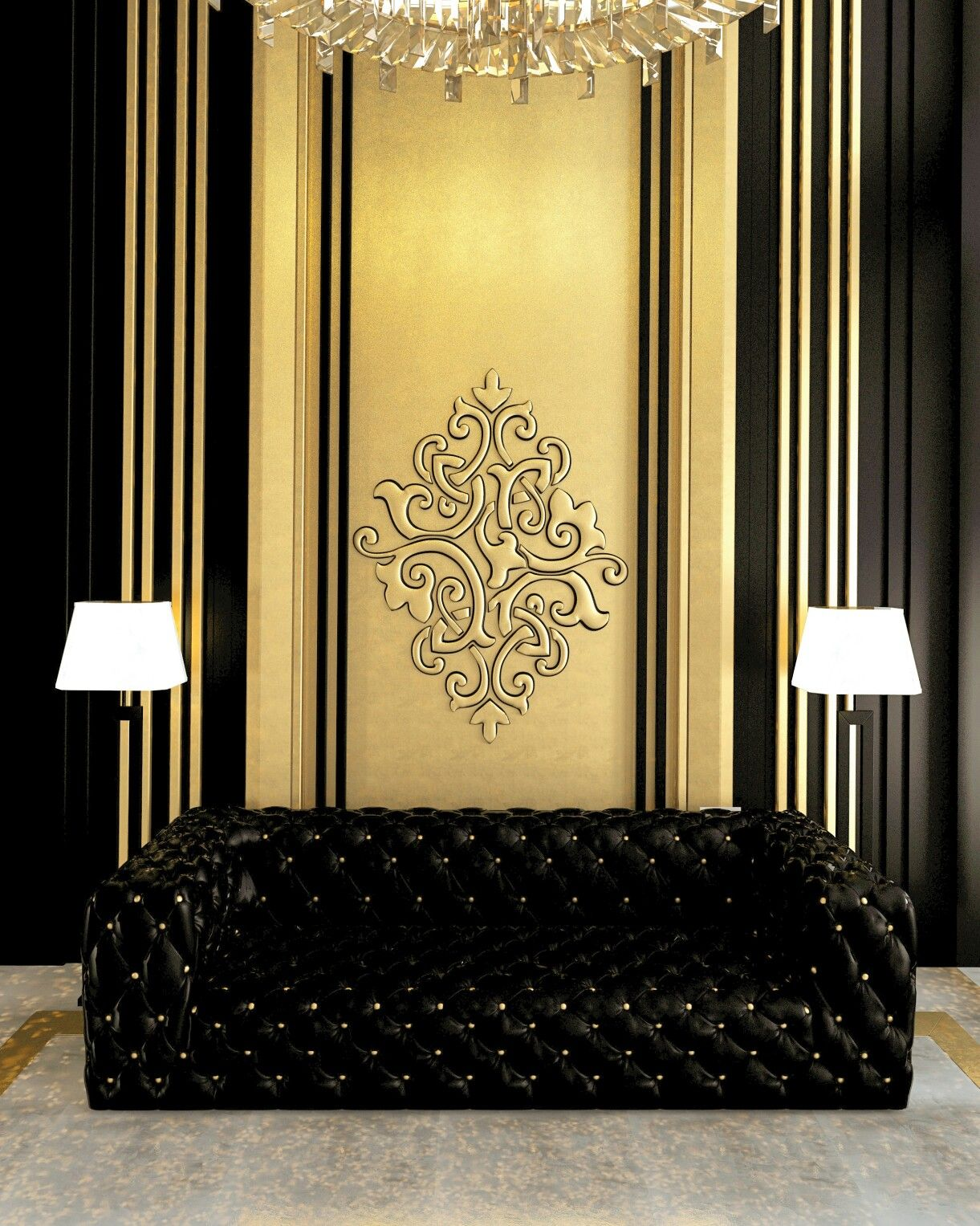 Black and gold | Ceiling n gypsum | Pinterest | Gold, Interiors ...