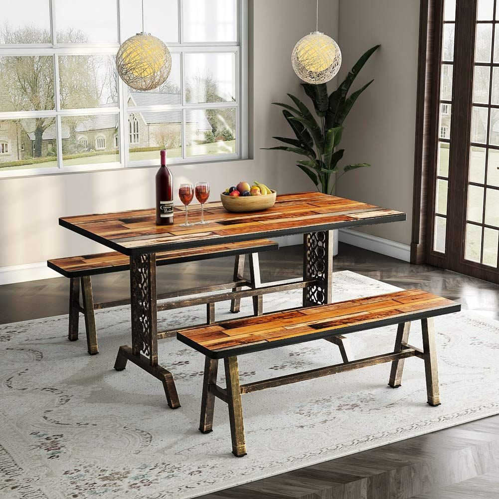 Tribesigns Dining Table With Two Benches 3 Pieces Dining Set Kitchen Table Set With Metal Base For Small Kitchen Table Settings Dining Table 3 Piece Dining Set