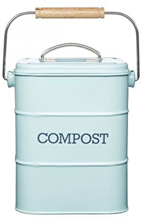 Details About Vintage Kitchen Compost Bin Metal Waste Scrap Food Container  Caddy Blue Storeage