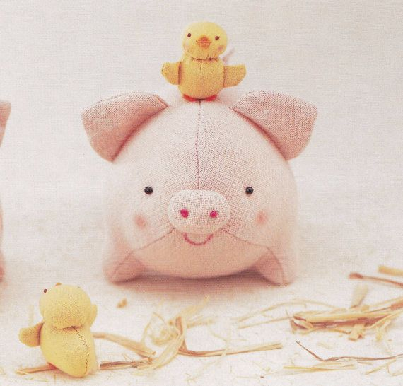 Cotton Linen Cute Pig and Chicken Plush Plushies Stuffed Toy Mascots ...