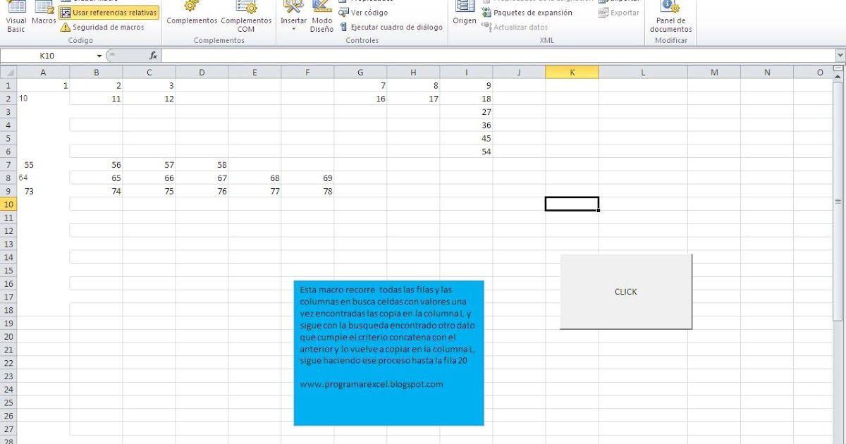 Este Procedimiento De Vba O Macro De Excel Recorre Todas Las Filas Y Todas Las Columnas Del Libro De Excel Buscando Sólo Celdas Datos Cursillo Columnas
