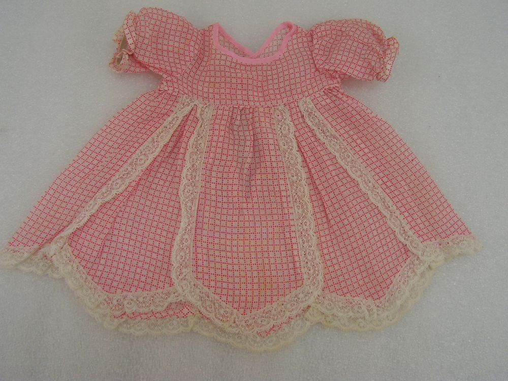 """Antique 1930s Shirley Temple Doll Pink Dress w. Lace  18"""" Composition Doll (7C) #Homemade"""