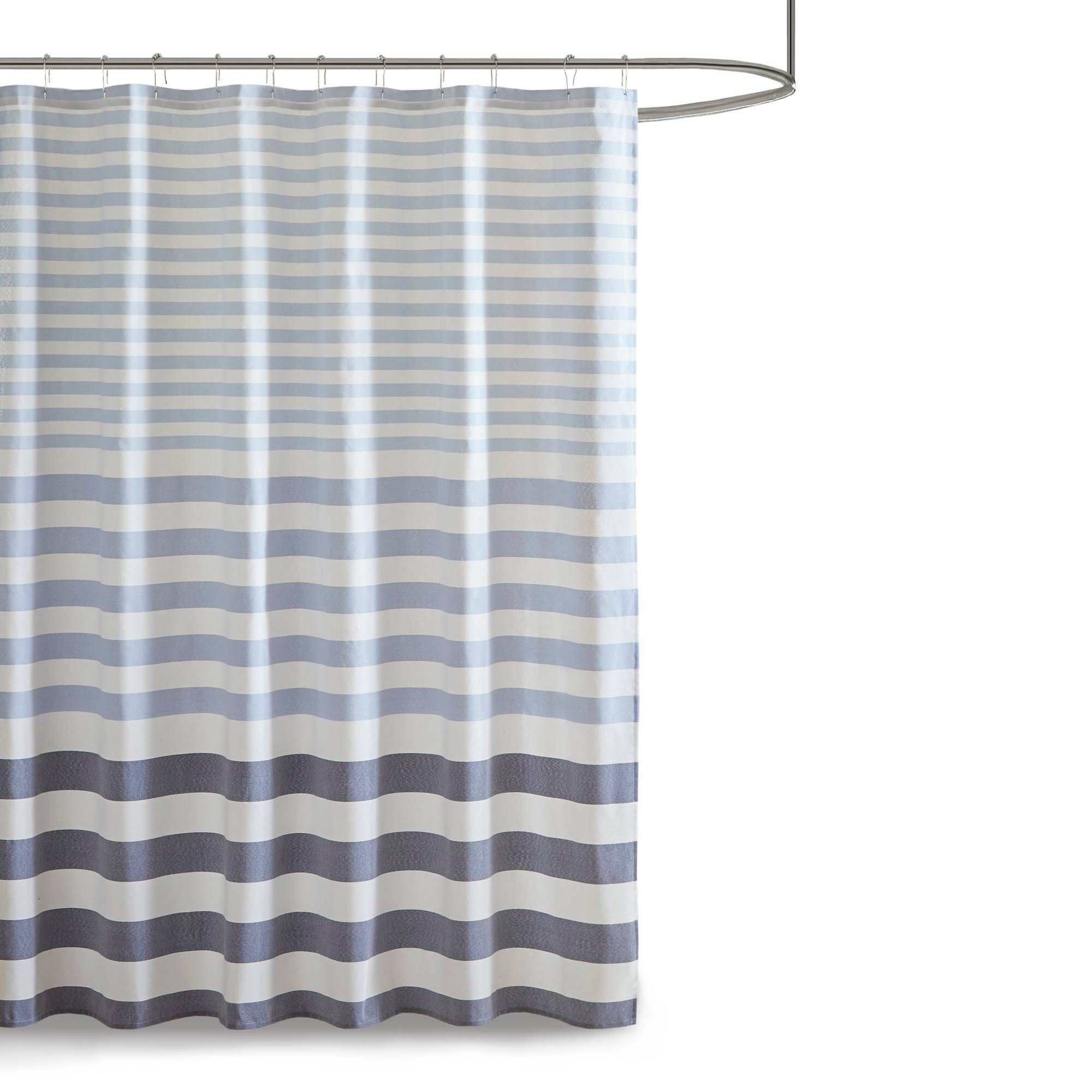 72 X72 Colette Yarn Dyed Woven Shower Curtain Navy Adult Unisex