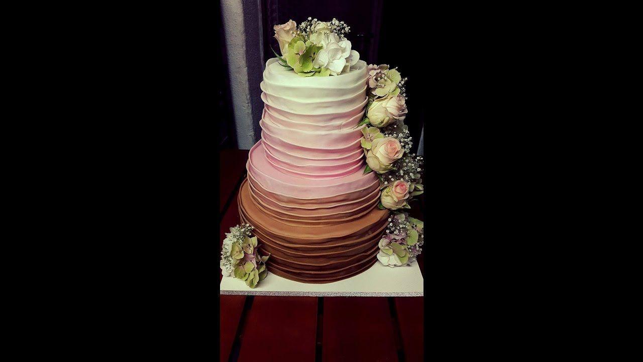 Hochzeitstorte 4 Stockig Ombre Lagen Look Echte Blumen Video