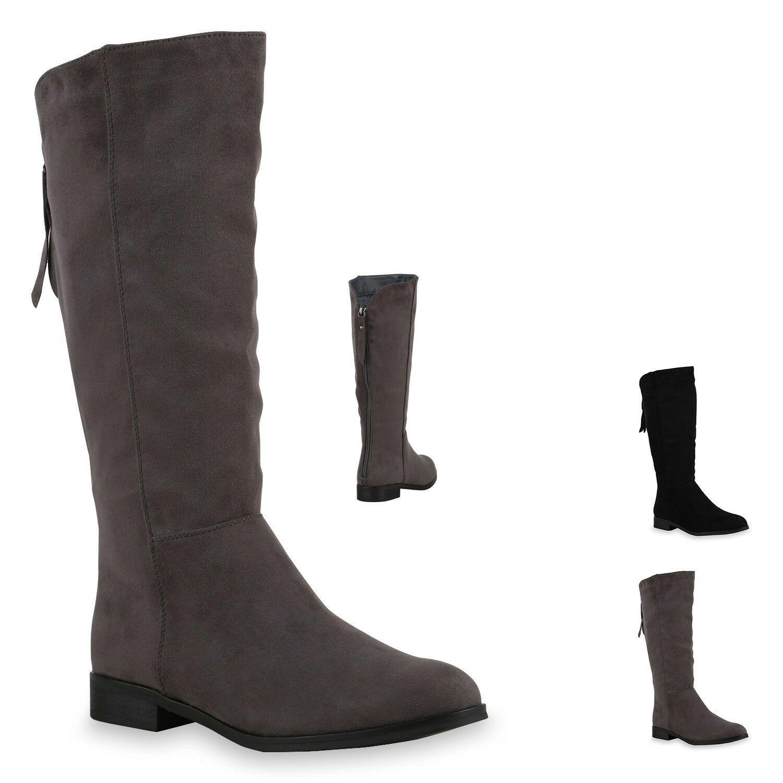 893525 Damen Stiefel Flache Boots Winterstiefel New Look