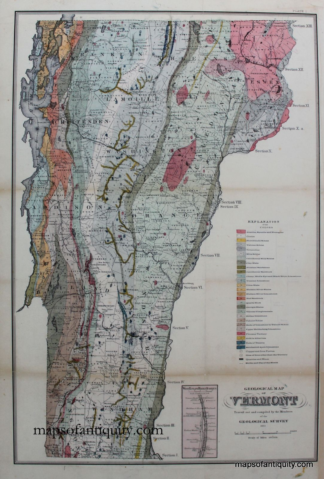 geologic map of vermont H Geological Map Of Vermont 25 X 17 110 Antique Maps Map geologic map of vermont