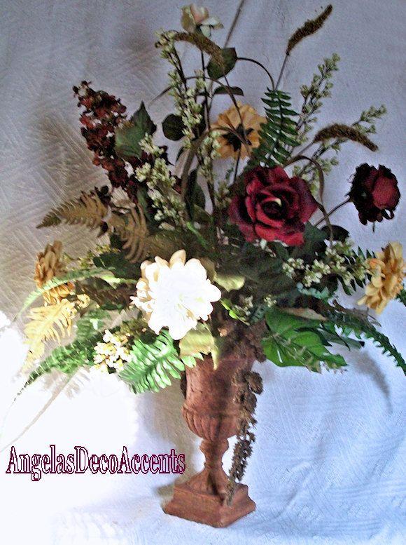 Silk floral arrangement large tuscany fall urn designer for Fall fake flower arrangement ideas