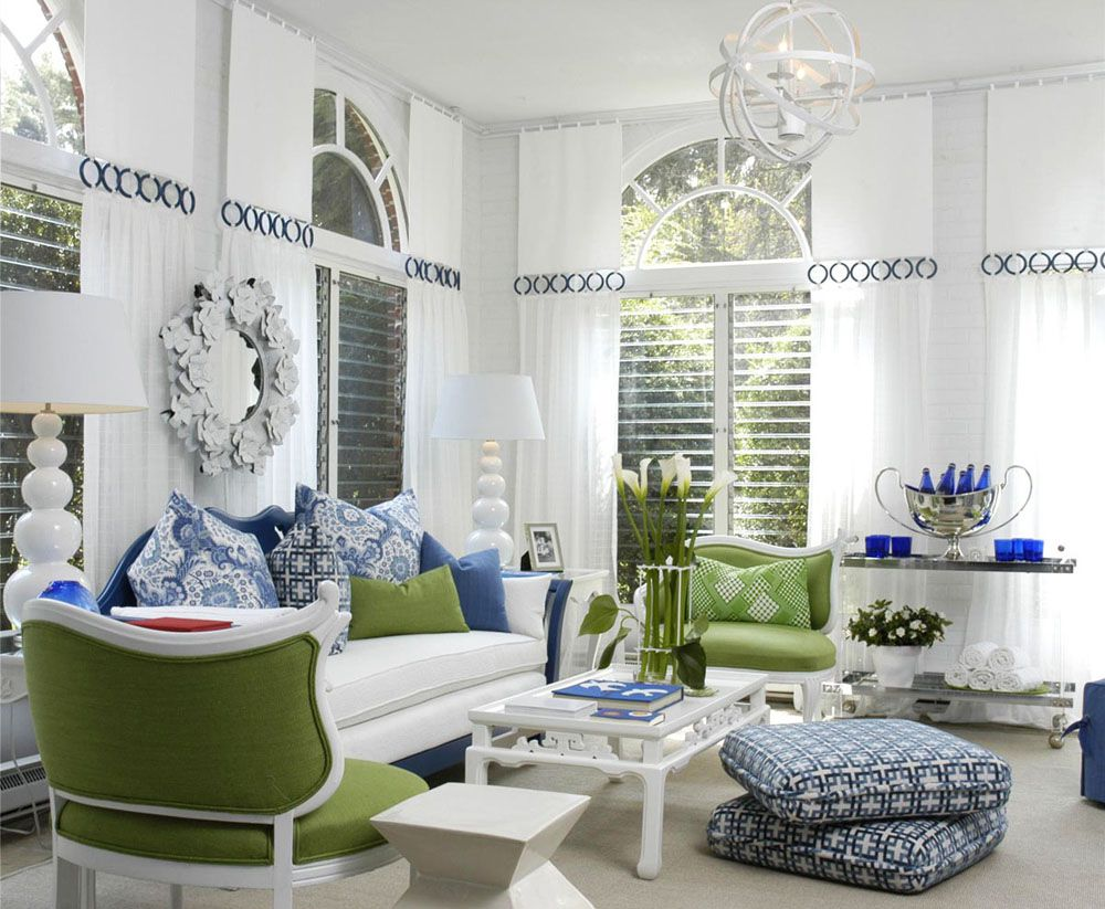 Green Living Blue And White Decor