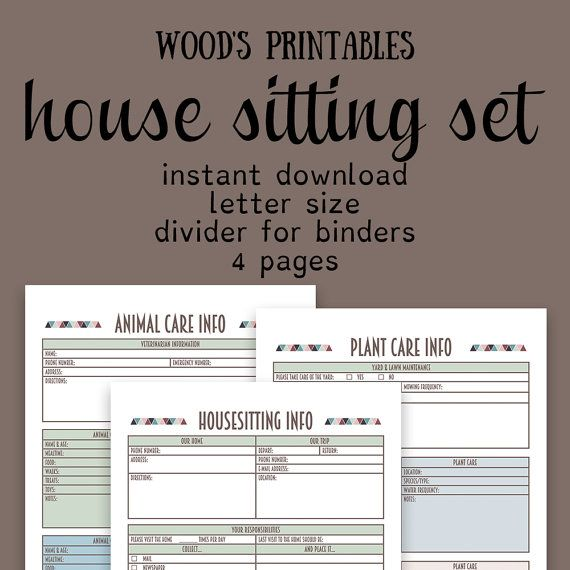 House Sitting Notebook Pdf Printable Home By Woodsprintables