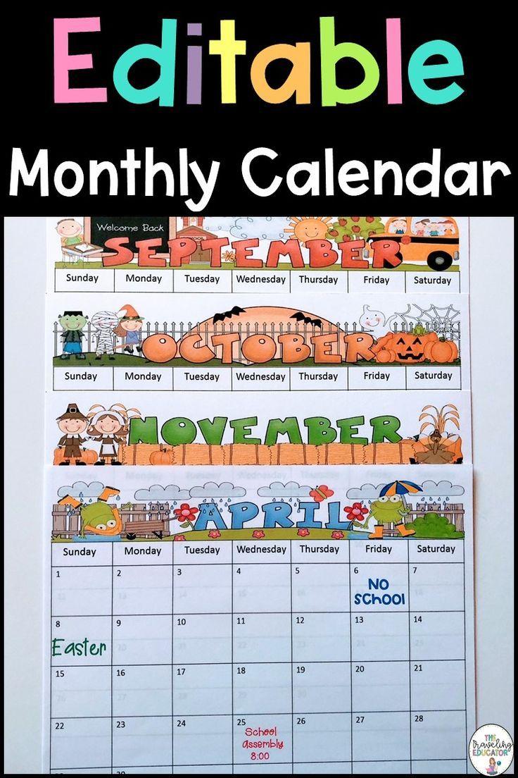 Monthly Calendar Editable Template (2019-2022) | Editable ...