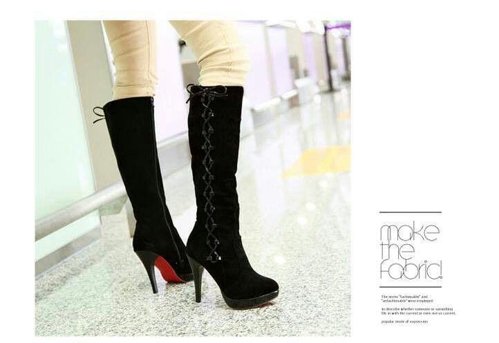 fa69ba8020f39 READY STOCK WOMEN BOOTS KODE : Black Velvet Tall Boots PRICE : Rp ...